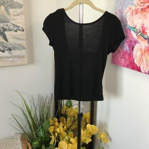 Me To We Black Low Back Cropped Top Size XS